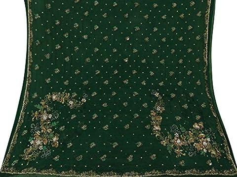 Indian Jahrgang grüne Dupatta Dekorative reiner Chiffon Silk Hand wulstige Schleier Stola