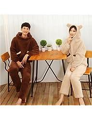 &zhou Invierno de ocio pijamas hogar gruesas pijamas ropa conjuntos de parejas , female , m