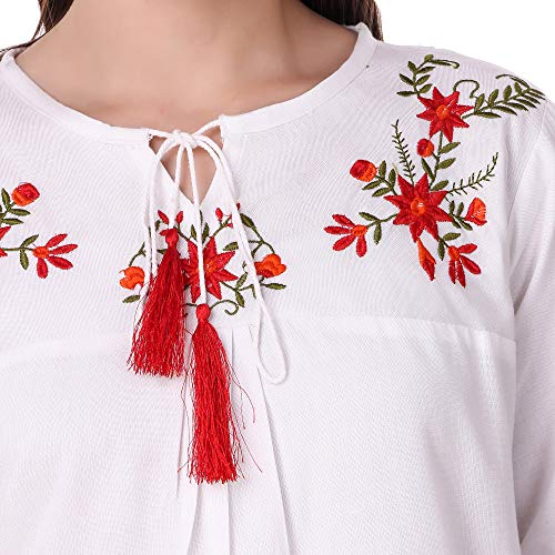 Elyraa Women's Embroidered Western Cotton Top (White top with 3/4 Sleeves) (Medium)