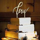 WINOMO Liebe Kuchen Topper Holz Cake Topper für Hochzeitstorte Dekorationen