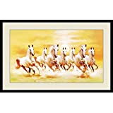 Seven Horses Painting With Frame For Vastu & Fengshui Showing SUNRISE And Horses Are In Right Direction As Per VASTU- Size 30x20 Inch