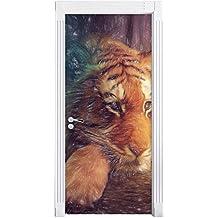 Un mondo di fantasia - una donna e un effetto matita arte gigantesca tigrecome Murale, Formato: 200x90cm, telaio della porta, adesivi porta, porta decorazione, autoadesivi del portello