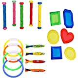 TOYMYTOY Swimming Pool Diving Toys Set | Underwater Game For Kids - Diving Rings, Sticks, Toypedo, Jewelry