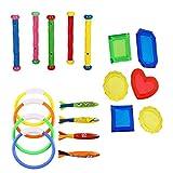 TOYMYTOY Set di giocattoli da piscina per piscina - Giocattoli per piscine subacquee con anelli da immersione, bastoni, toypedo, gioielli Tesori per bambini Nuoto Divertimento estivo