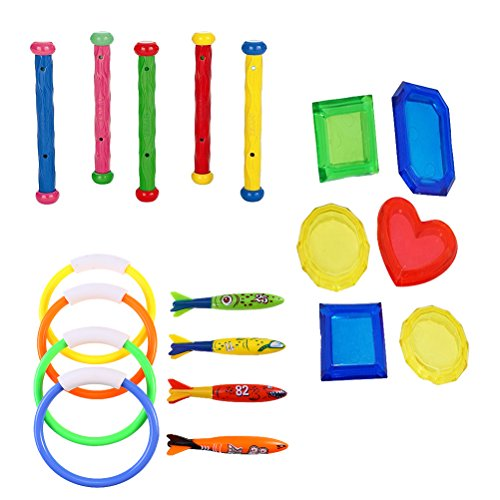 TOYMYTOY Tauchen Ringe und Tauchen Sticks 19 Stücke Bunte Tauchen Spielzeug Anzug für Kleinkinder Kinder (zufällig)