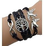 Bracelet Noir Arbre Colmbe Et Perle Amour