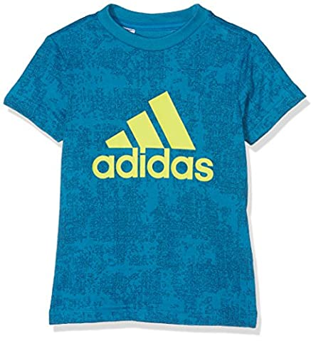 adidas Jungen Essentials Allover-Print T-Shirt, Unity Blue F16/Tech Steel F16, 140 (Steel Blue T-shirt)