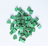 E-Simpo® 50-Pack 3 Poles 2.54mm Pitch, PCB Screw Terminal Block EC 130V8A,26-18AWG/1mm² Wire Range,128-2.54-3P,CE Rohs UL, High Quality,Strict Size as Drawing.