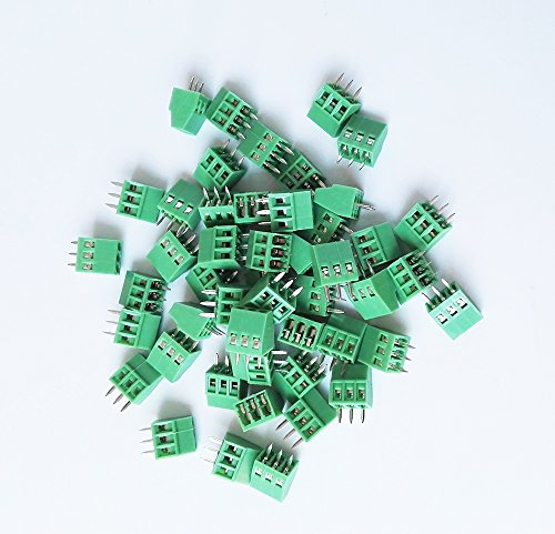 E-Simpo 50-Stück Amtsheftung 3 Polen 2,54 mm Pitch PCB Mount Screw Terminal Block, 150 V 6 A, 128-2,54-3P, CE RoHS UL