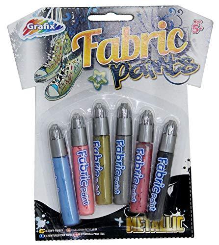Grafix Art Textilmalstifte, 6 Stück, metallisch