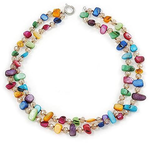 Deux rangée Multicolore Coque Pépite et nude-coloured–Collier Femme–Perle en cristal en verre–44cm L