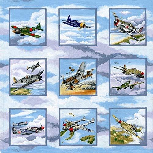 Warbirds WWII–Planes Quilting Stoff 50heraklithplatten je 8cm quadratisch