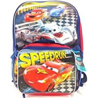 Preisvergleich für Disney Pixar Cars SpeedRun 16 Canvas Red School Backpack w/Detachable Lunch Bag