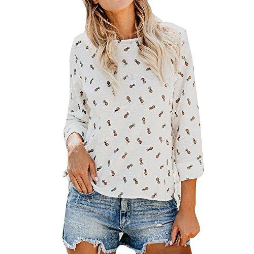 FeiBeauty 2018 Damen Mode Sommer Frühling Beiläufiges Ananas Print Top O-Ausschnitt Retro Kurzarm Oberteil Tops BluseT- Shirt
