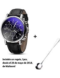 Amsion Marea lujo Blue Ray cuero de imitación de cuarzo analógico reloj de  las hombre ( fb00964ec52c