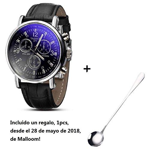 Amsion Marea lujo Blue Ray cuero de imitación de cuarzo analógico reloj de las hombre (negro)
