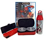 #10: Spiderman Printed Smart Exam Writing 3D Pad with Paper Holder Clip + Compass for Stationery + Lunch box for Breakfast + 500ml Insulated Water Bottle Durable Material Perfect Combo Gift for Kids & Children D1