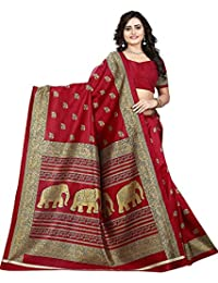 Mrinalika Fashion Women'S Art Silk Saree With Blouse Piece (Elephant Print Red_Red_Freesize)