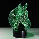 Horse 3D Led Night Lights Usb Novedad Regalos 7 Colores Que Cambian Animal Led Lámpara De Mesa De Escritorio Como Decoración Del Hogar Barato Al Por Mayor