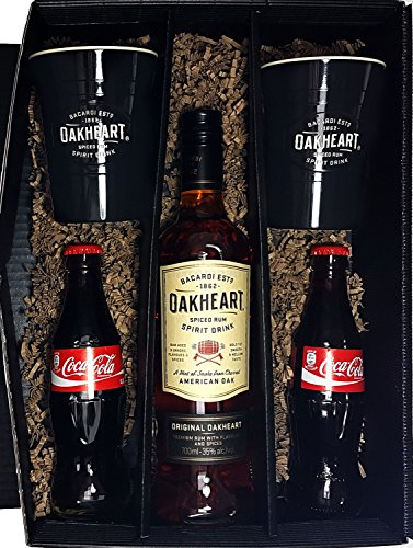 Bacardi Geschenkset - Bacardi Oakheart Spiced Rum 70cl (35% Vol) + 2x Becher + 2x Coca Cola je 0,2L