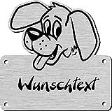 Namensschild mit Wunschtext und Motiv, Gravur für Hundehütte, Hundehaus