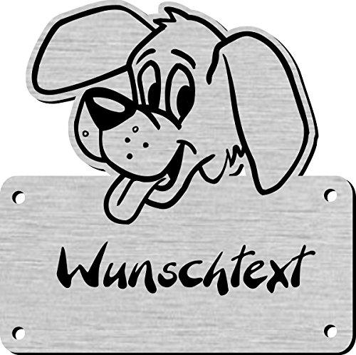 Namensschild mit Wunschtext und Motiv, Gravur für Hundehütte, Hundehaus - W Hundehütten
