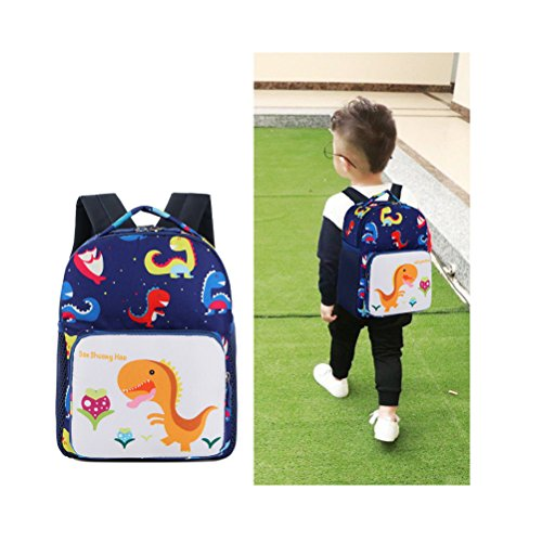 Toddler Children's Backpack With Safety Harness Leash Baby Boys Girls Dinosaur Preschool Backpack Snack Lunch Bag Travel Rucksack By FUYAO (Navy)