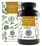 NATURE LOVE Curcuma Extrakt Kompakt - Premium: Curcumin Gehalt EINER Kapsel entspricht dem von ca. 15.000mg Kurkuma - Hochdosiert aus 95% Extrakt - Laborgeprüft, vegan, hergestellt in Deutschland