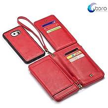 Cassa del cuoio Bora Samsung Galaxy S6 funzionale e durevole, Zipper il portafoglio Premium Custodia in pelle removibile magnetica staccabile con flip Holder Cards.Rosso