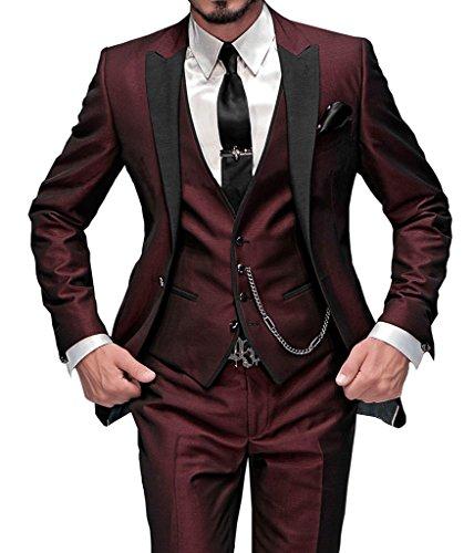 GEORGE BRIDE Herren Anzug 5-Teilig Anzug Sakko,Weste,Anzug Hose,Krawatte,Tasche Platz 002,Burgund XXL
