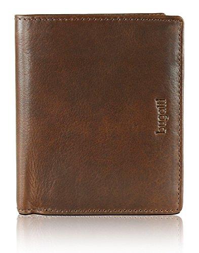 BUGATTI Romano Echtleder Geldbörse im Hochformat, Portemonnaie aus echtem Leder für Herren, hochwertige Brieftasche, braun