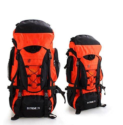 70L Borsa Da Montagna All'Aperto Impermeabile Uomini E Donne In Viaggio Sullo Zaino Grande Capacità Multifunzione , Black orange