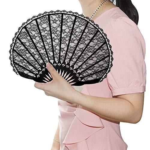 ndfächer im Court-Stil mit Spitzenbesatz Spanische Viktorianischen Hand Fan für Hochzeitsfeier [Länge 20cm] - Schwarz ()