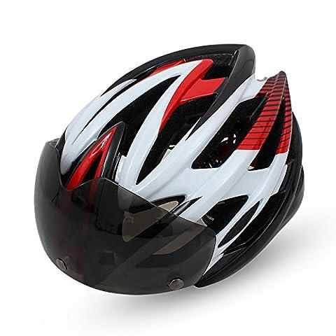 Casque de vélo de qualité supérieure de qualité Airflow spécialisé pour le vélo de route et de montagne - Casques certifiés de sécurité pour les hommes et les femmes adultes, garçons et filles ados - Confortable, léger, respirant-lentille amovible ( Color : Red )