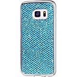 Samsung Galaxy S7 Hülle,KSHOP Tasten Handyhülle Schutzhülle Case Cover Etui Bumper Anti-Scratch Plating TPU Silikon Blau Glänzend Glitzer Bling Shining Luxus Farbig Rahmen Silber