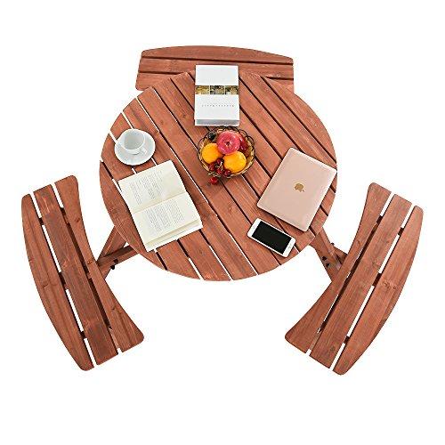 ZJLAN Robustes 6-Sitzer Holz Garten Terrasse Picknickbank Pub Tisch Outdoor UK - Runde Pub Höhe Tisch