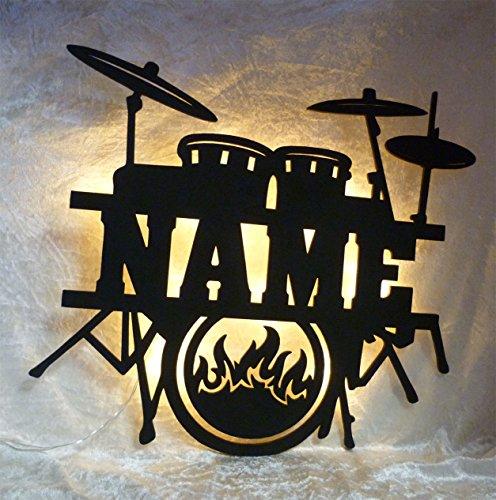 Schlummerlicht24 Led Drums Schlagzeug mit Name, Geschenke für Schlagzeuger und Musiker, als Deko-Lampe Zimmer oder Musikschule (Gitarre Bilder Für Kinder)