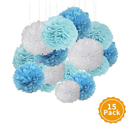 XCOZU Seidenpapier Pompons, 15 Stück Bunt Papier Pompoms für Hochzeit Deko,Seidenpapier Pompom für Geburtstagsfeier Deko Pom Poms,Weiß und Blau Pon Pons