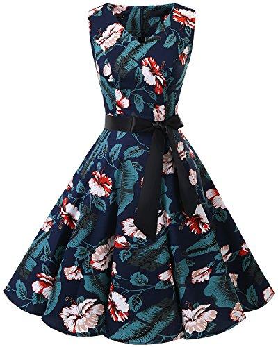 bridesmay 1950er V-Ausschnitt Kleid Vintage Cocktailkleid Rockabilly Retro Schwingen Kleid FaltenrockNavy Flower XL
