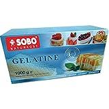 Feuilles de gélatine Bio 1 Kg (Environ 400 Feuilles) Pack Eco SOBO - Gélatine en feuilles bio Pure écorce - Gélatine feuille bio +/- 210 Bloom; 20 mesh - Conditionnement Gros 1 Kg