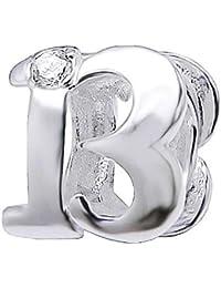 So Chic Joyas - Abalorio Charm Número 13 de buena suerte Suerte Circonita Blanco - Compatible con Pandora, Trollbeads, Chamilia, Biagi - Plata 925
