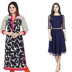 Vatsla Women's Cotton Stitched Regular Wear Kurta (Combo Pack Of 2) (VKR_PC_002)(VCR-0031_Comb)