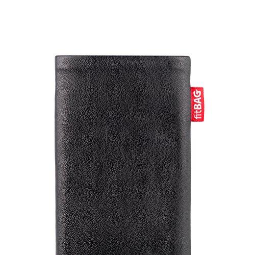 fitBAG Beat Zitronengelb Handytasche Tasche aus Echtleder Nappa mit Microfaserinnenfutter für Apple iPhone 3Gs 32GB 32 GB Beat Schwarz