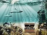 Fototapete Unterwasserschatz 350cm Breit x 260cm Hoch Vlies Tapete Wandtapete - Tapete - Moderne Wanddeko - Wandbilder - Fotogeschenke - Wand Dekoration wandmotiv24