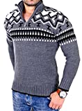 Reslad Herren Strickpullover Crewneck Zipper Norweger Pullover RS-3110 Anthrazit XL