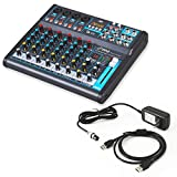 Pyle 8-Ch. Studio DJ Mixer [Audio Interface Mixing Sound System] Bluetooth Wireless Streaming | USB/Computer Connection Interface | Digital MP3 Support | +48V Phantom Power (PMXU83BT)