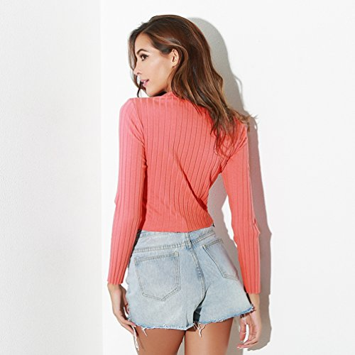 Yiiquan Donna Semplice Casuale Camicia Autunno Classico Maglietta Invernale Camicetta Maglia Maniche Lunghe T Shirt Pink