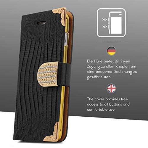Urcover® iPhone 7 Plus / 8+ Hülle, Crocodile Edition Wallet mit [ Magnet Stand-Funktion ] Bookstyle Flip Case Etui Cover Handytasche Schutzhülle für Apple iPhone 7 Plus / 8+ Farbe: Schwarz Schwarz