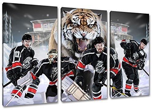 Nürnberg Eishockey, Fan Artikel Leinwandbild 3Teiler Gesamtmaß 120x80cm, Auf Holzrahmen gespannt, Kein Poster oder billig Plakat, Must Have für echte Fans