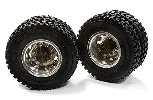 INTEGY RC Model Hop-ups c26577gun machined Alloy T5 Rear Dually Wheel & xD Tire for Tamiya 1/14 Scale Trucks